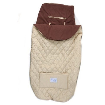 Baby Stroller Bunting Keeps Baby Cozy and Warm (Tan with Chocolate Lining)