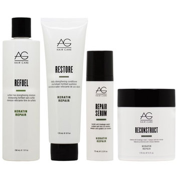 Ag Hair Care AG Hair Refuel Shampoo 10oz + Restore Conditioner 6oz + Repair Serum + Reconstruct Mask 'Set' (Pack of 4)