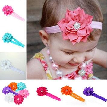 Fullkang 6 Pieces Babys Girls Headband Head Wear Crystal Lotus Flower Hairband