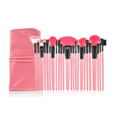 Pro 24 Pcs Makeup Brushes Cosmetic Tool Kit Eyeshadow Powder Brush Set Case with Leather Pouch 24 Count Bursh set For Eye Shadow Blush Concealer