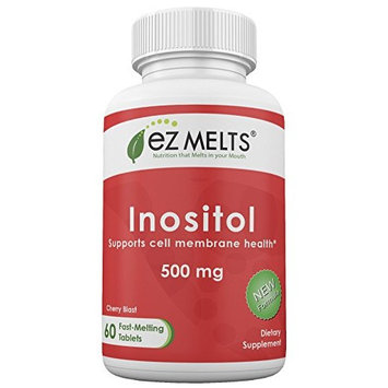 EZ Melts Inositol as Myo-Inositol for PCOS, 500 mg, Sublingual Vitamins, Vegan, Zero Sugar, Natural Cherry Flavor, 60 Fast Dissolve Tablets
