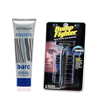 Bump Fighter Razor for Men + Barc Shaving item (Unscented Shave Cream, 6 Oz)