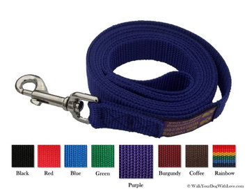 Walk Your Dog With Love Unique Wide Handled Dog Lead Leashes, Original Edition, 4 Versatile Styles, Deep Purple