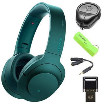 Sony Wireless NC On-Ear Bluetooth Headphones w/ NFC Blue w/ 32GB Flash Drive Bundle