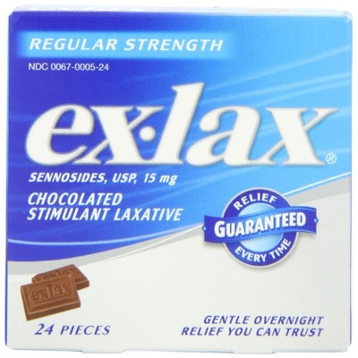 5 Pack Ex-Lax Sennosides Chocolated Stimulant Laxative Regular 24 Pieces Each