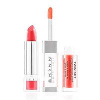 Skinn Cosmetics Twin Set Collagen Boost Lipstick & Wet Lips Gloss - Shade: Coral Crush