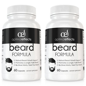 Beard Formula Supplement for Men by Optimal Effects with Vitamins for a Fuller, Longer & Thicker Beard, All Natural Complex with Biotin that Promotes Faster Facial Hair Growth - 60 Veggie Capsules (2)