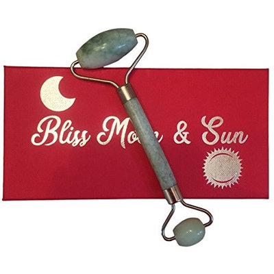 Bliss Moon & Sun Premium Jade Face Roller, Jade Massager for Face and Neck, Authentic 100% Real Jade Stone, Facial Massage for Anti Aging, Skin Care, and Beauty Care