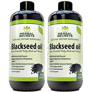 Herbal Secrets Black Seed Oil Natural Dietary Supplement - Cold Pressed Black Cumin Seed Oil from 100% Genuine Nigella Sativa - 16 oz Bottle (2 Pack)