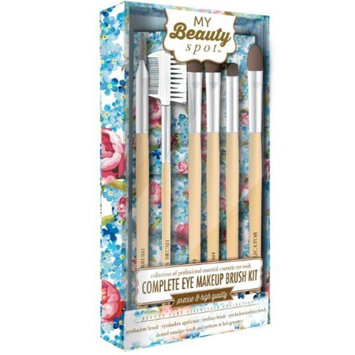 My Beauty Spot Complete Eye Makeup Brush Kit - 6 Count Brushes With Pink & Blue Floral Designed Carrying Case
