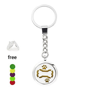 Essential Oil Diffuser Key Chains - YouMiYa Bone with Dog Print Shape Aromatherapy Essential Oil Diffuser Alloy Locket Key Chains Perfume Locket Funny and Creative Gifts For Men,Boy,Girls,Lover