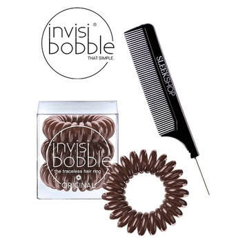 Invisibobble ORIGINAL BROWN The Traceless Hair Ring (3 rings), (with Sleek Steel Pin Tail Comb) (ORIGINAL, BROWN)
