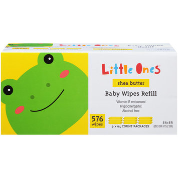 Little Ones Baby Wipes, Shea Butter, 9x Refill Box, 576 Wipes