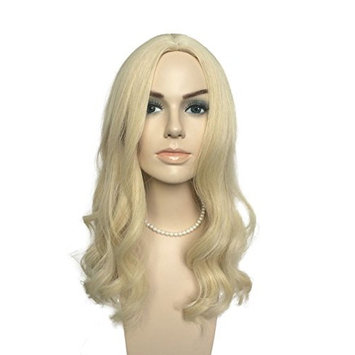 Namecute Bleach Blonde Wig Long Curly Wigs Middle Part High-temperature Synthetic Hair Replacement Wig + Free Wig Cap