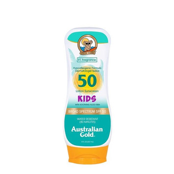 Australian Gold Sunscreen Lotion for Kids, Non-Greasy, Broad Spectrum, Water Resistant, Reef Safe Sunscreen, Cruelty Free, Hypoallergenic, Pediatrician & Dermatologist Tested, SPF 50, 8 Ounce [Kids Lotion]