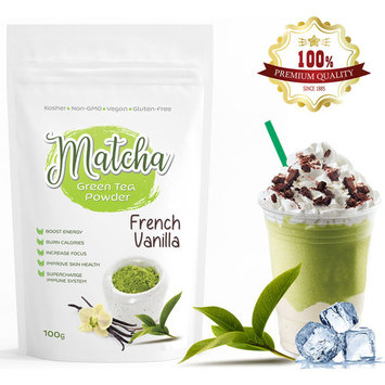 French Vanilla Matcha Tea Powder (100g) – 100% Natural - Premium Quality Japanese Matcha Infused with Natural French Vanilla Flavor – Only 3 Calories per Serving – Makes 50 Servings
