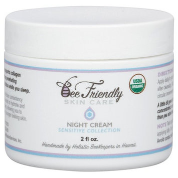 USDA Certified Organic Night Cream By BeeFriendly Sensitive Collection, Anti Wrinkle, Anti Aging, Deep Hydrating & Moisturizing Night Time Eye, Face, Neck & Decollete Cream for Men and Women