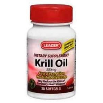 Leader Krill Oil 300mg Softgels 30 ct (2 PACK) - Compare to Mega Red Krill Oil