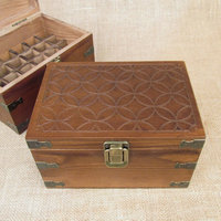 Mosaic Design Wood Storage Box for Roll On Essential Oil Aromatherapy Bottles by Rivertree Life