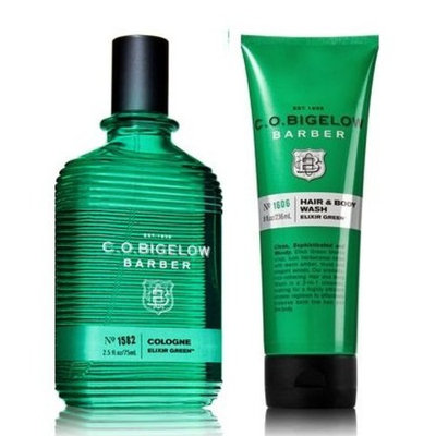 C.O. Bigelow Elixir Green Men's Cologne 2.5 Oz & Hair and Body Wash 8 Oz.