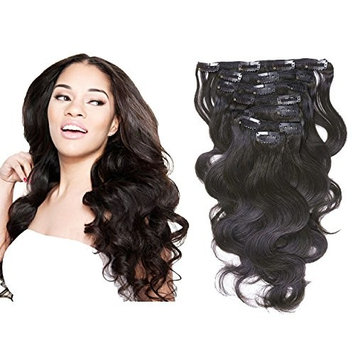 Loxxy Real Remy Human Hair Extensions Clip in Body Wave Top 8A Grade Seamless Virgin Hair For Full Head Double Wefts Natural Black For Fashion African Americans,10-22inch 120G per set 18 Inch