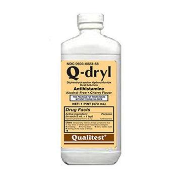 Qualitest Products Inc Q-Dryl Elixer Qual Alcohol Free, Cherry Flavour 16 Oz