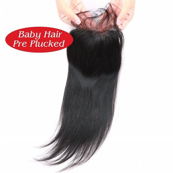BeiKaShang 4x4 Straight Lace Closure with Bleached Knots Baby Hair Natural Hairline Brazilian Virgin Human Hair Closure Hair Natural Color Middle Part 18