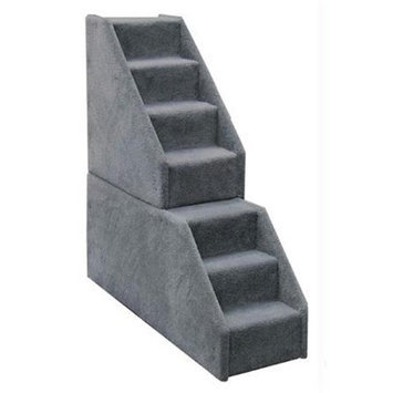 Animal Stuff MINI7GR Bear Stairs Mini 7 Step Dog Steps - Grey