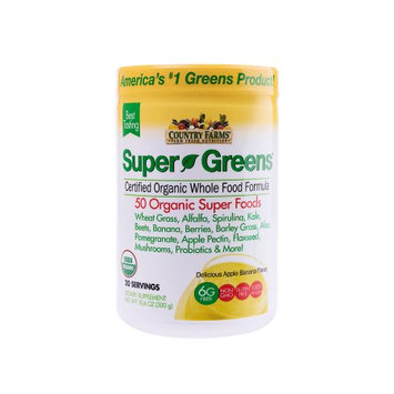 Country Farms Super Greens Drink Mix, Apple Banana, 10.6 Oz