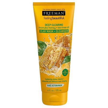 Freeman Deep Clearing Facial Clay Mask + Cleanser, Manuka Honey + Tea Tree Oil