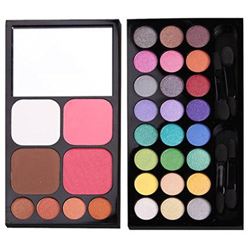 PhantomSky 32 Colors Eyeshadow Palette Makeup Contouring Kit Combination with Blusher and Press Powder - Perfect for Professional and Daily Use