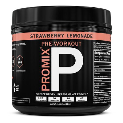 ProMix Nutrition Pre Workout Powder Strawberry Lemonade 40 Servings with Antioxidants Taurine Tyrosine Beta Alanine B12 [Strawberry Lemonade]