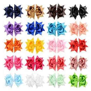 20Pcs Hair Barrettes, Coxeer Multi-layer Flower Shaped Hair Clips Hair Bows Hair Pins Hair Accessories for Baby Girls Kids Teens Toddlers Children