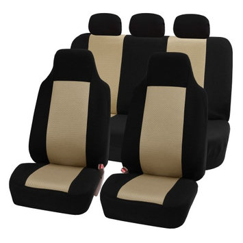 Fh Group FH-FB102115 Classic Cloth Car Seat Covers, Full Set with Solid Bench, Beige / Black