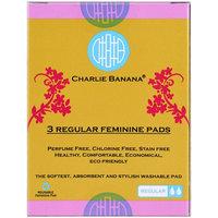 Charlie Banana, Regular Feminine Pads, Floralie, 3 Pads