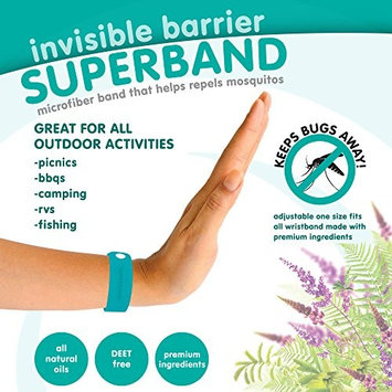 Invisible Barrier Superband - ALL NATURAL Microfiber Insect Repelling Wristband 5 Pack (Blue)
