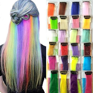 Synthetic Clip Ins Hair Extensions 24 Colors Straight 20 inches Hairpieces Clip On Highlights Colorful Pack of 24pcs