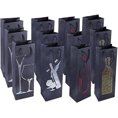 Wine Gift Bags- Single Bottle Wine Alcohol Liquor Spirits Bag - 4 Foiled Embellished Designs- 12 Piece Set - 4.7 x 3.7 x 15.5 Inches