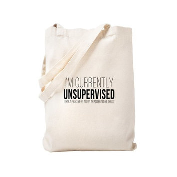 CafePress - Currently Unsupervised - Natural Canvas Tote Bag, Cloth Shopping Bag
