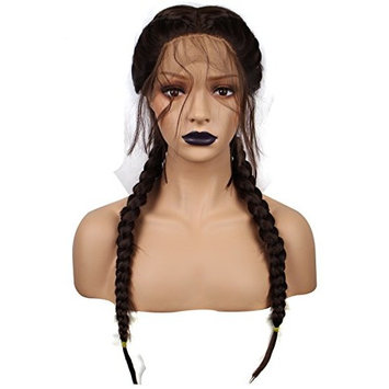 Anogol Hair Cap+ Braided Lace Front Wig With Baby Hair Synthetic Brown Long Straight Heat Resistant Fiber Middle Part Fancy Dress Wigs