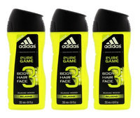 Adidas Pure Game 3-in-1 Relaxing Shower Gel, Shampoo & Face Wash 8.4fl oz.(Pack of 3)