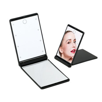 Neoyowo LED Makeup Mirror Foldable Button Battery Operated 8 Dimmable LEDs Lighted Cosmetic Mirror 1X & 2X Portable Compact Travel Mirror