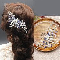 Kercisbeauty Wedding Blue Crystal Beads Comb Bridal Hair Comb Headpiece Wedding Hair Piece Vintage Hair Comb Flower Hair Piece Hair Jewelry Bridal Hair Accessories