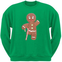 Ginger Bread Man With Candy Cane Crutch Green Crew Neck Sweatshirt