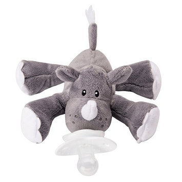 Nookums Paci-Plushies Rhino Buddies - Pacifier Holder (Plush Toy Includes Detachable Pacifier, Use with Multiple Brand Name Pacifiers)