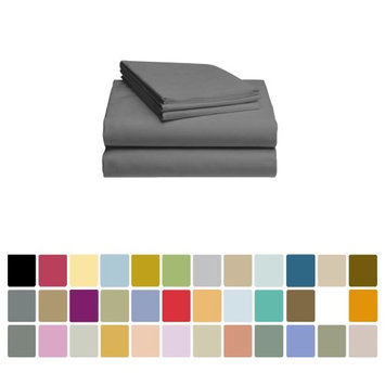 LuxClub Bamboo Sheet Set - Viscose from Bamboo - Eco Friendly, Wrinkle Free, Hypoallergenic, Antibacterial, Moisture Wicking, Fade Resistant, Silky, Stronger & Softer than Cotton - Grey Queen