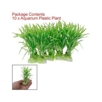 TOOGOO(R) 10PCS Plastic Green Aquarium Fish Tank Plant Green