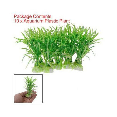 TOOGOO(R) 10PCS Plastic Green Aquarium Fish Tank Plant Green