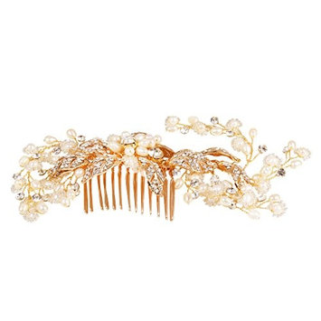 MagiDeal Elegant Crystal Pearls Leaves Hair Comb Wedding Bride Girls Prom Headpiece Accessory-Gold/Silver - G