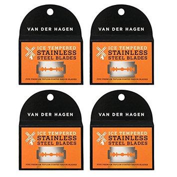Van Der Hagen Stainless Steel Double Edge Razor Blades 5 Blades (Pack of 4) + FREE LA Cross 71817 Tweezer